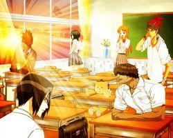 Обои bleach, team, sunset, ichigo, rukia, аниме