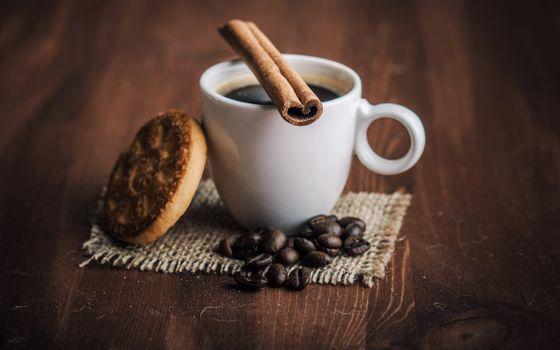 Photo free cup, cinnamon, coffee