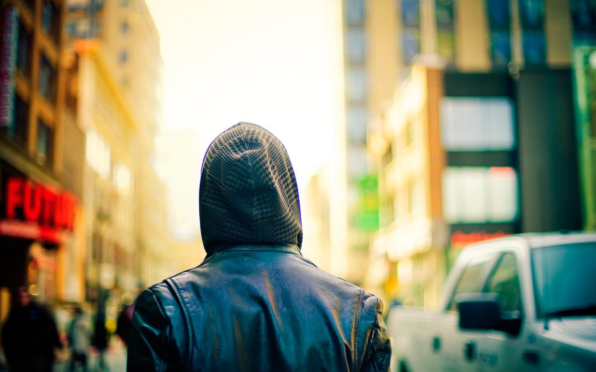 человек, капюшон, улица