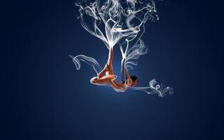 Бесплатные фото девушка,дым,синий,фон,3d графика