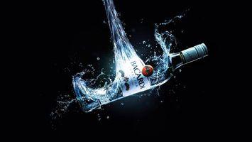 Фото бесплатно фон, черный, бутылка, бакарди, алкоголь, градусы, капли, напитки