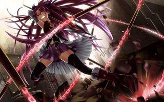Бесплатные фото girl,chin,spear,purple,long hair,skirt,аниме