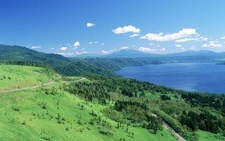 Бесплатные фото горы,небо,облака,река,дорога,деревья,природа