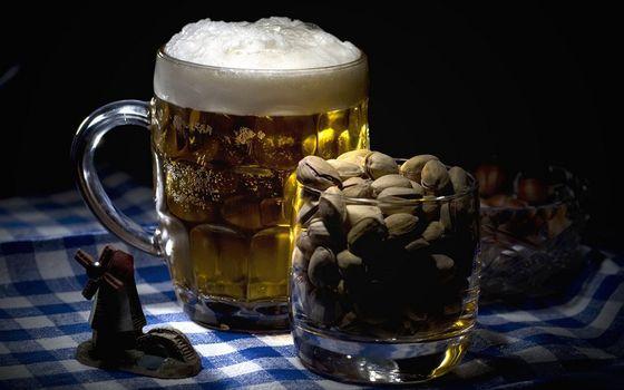 Бесплатные фото кружка,пиво,пена,стакан,орехи,фисташки,напитки