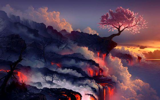 Фото бесплатно лава, подножье, вулкан, обрыв, дерево, пепел, извержение, природа