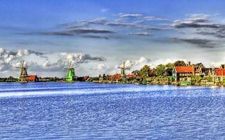 Фото бесплатно мельницы, домики, берег