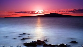Бесплатные фото море,камни,остров,гора,закат,солнце,облака