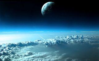Обои облака, орбита, шатл, полет, планеты, невесомость, космос
