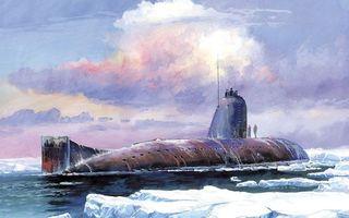 Заставки подводная лодка,небо,тучи,лед,снег,мороз,холод