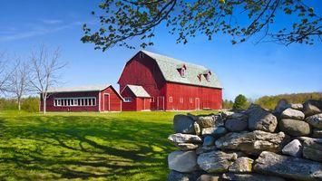 Бесплатные фото поле, трава, зеленая, камни, дом, красный, дерево