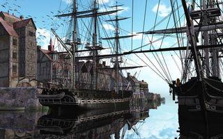 Бесплатные фото порт, корабли, парусники, мачты, дома, море, птицы
