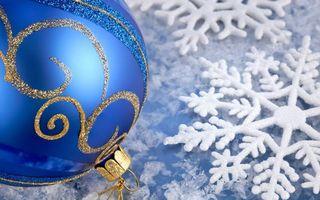 Бесплатные фото шарик, игрушка, елочная, снежинки, фон, белый, синий