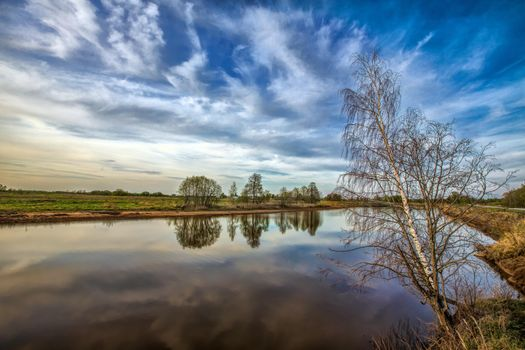 Фото бесплатно закат, водоём, деревья, пейзаж