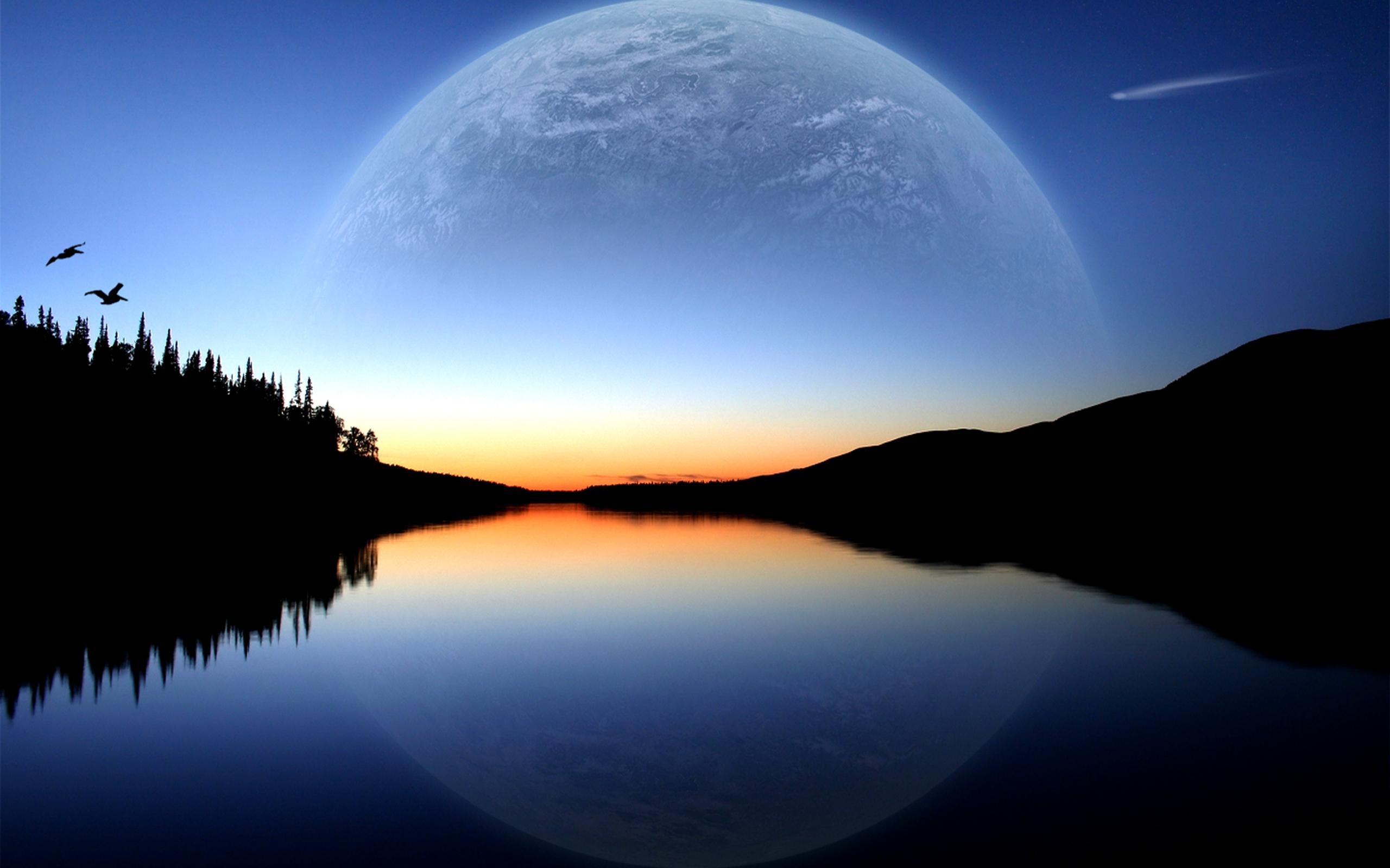 закат, горизонт, небо