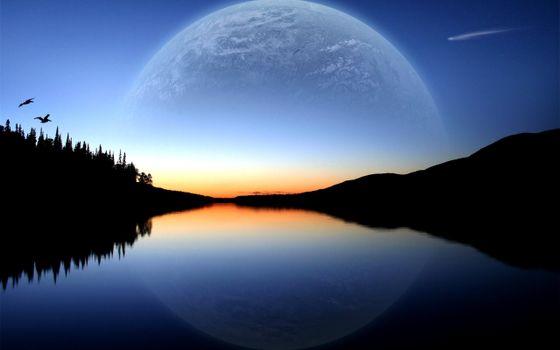закат, горизонт, небо, голубое, горы