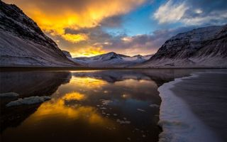 Бесплатные фото зима,горы,снег,озеро,лед,отражение,закат