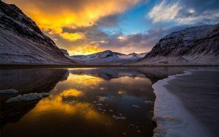 Заставки лед, небо, отражение