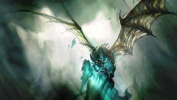 Бесплатные фото дракон,синий,рисованный,скелет,крылья,свет