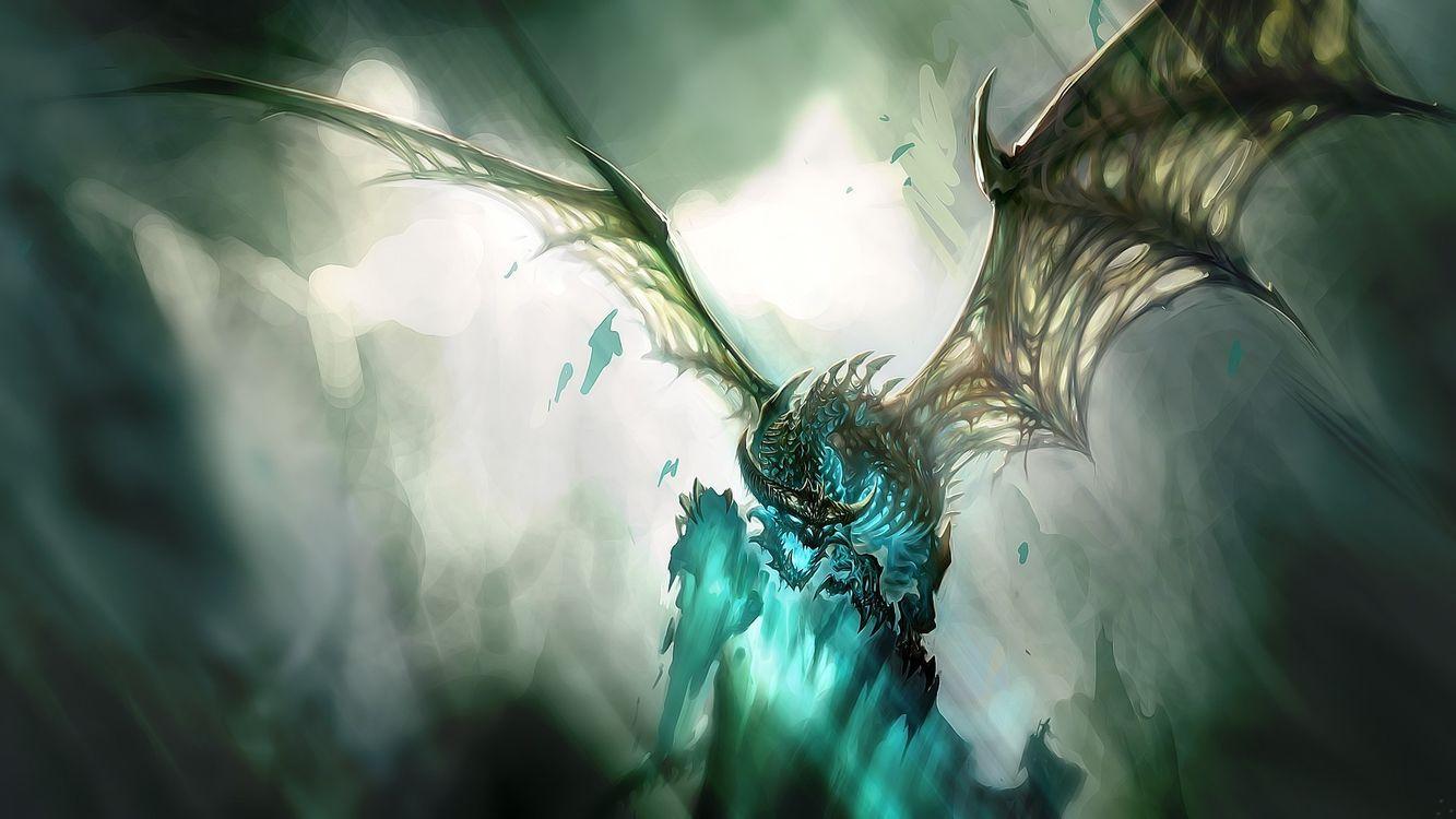 Фото бесплатно дракон, синий, рисованный - на рабочий стол