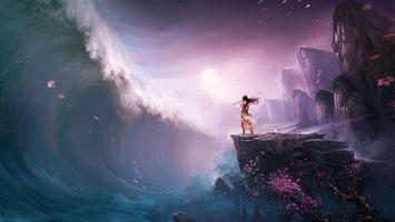 Бесплатные фото волна,цунами,девушка,флейта,рисованная,солнце