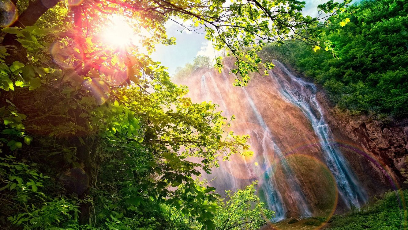 Фото бесплатно водопад, лучи, солнца, радуга, ветки, деревьев, брызги, пейзажи, природа, природа