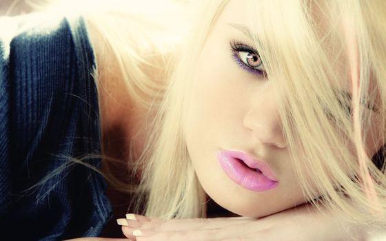 Фото бесплатно блондинка, волосы, губы