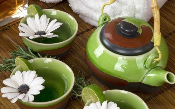 Photo free tea, romashka, lime