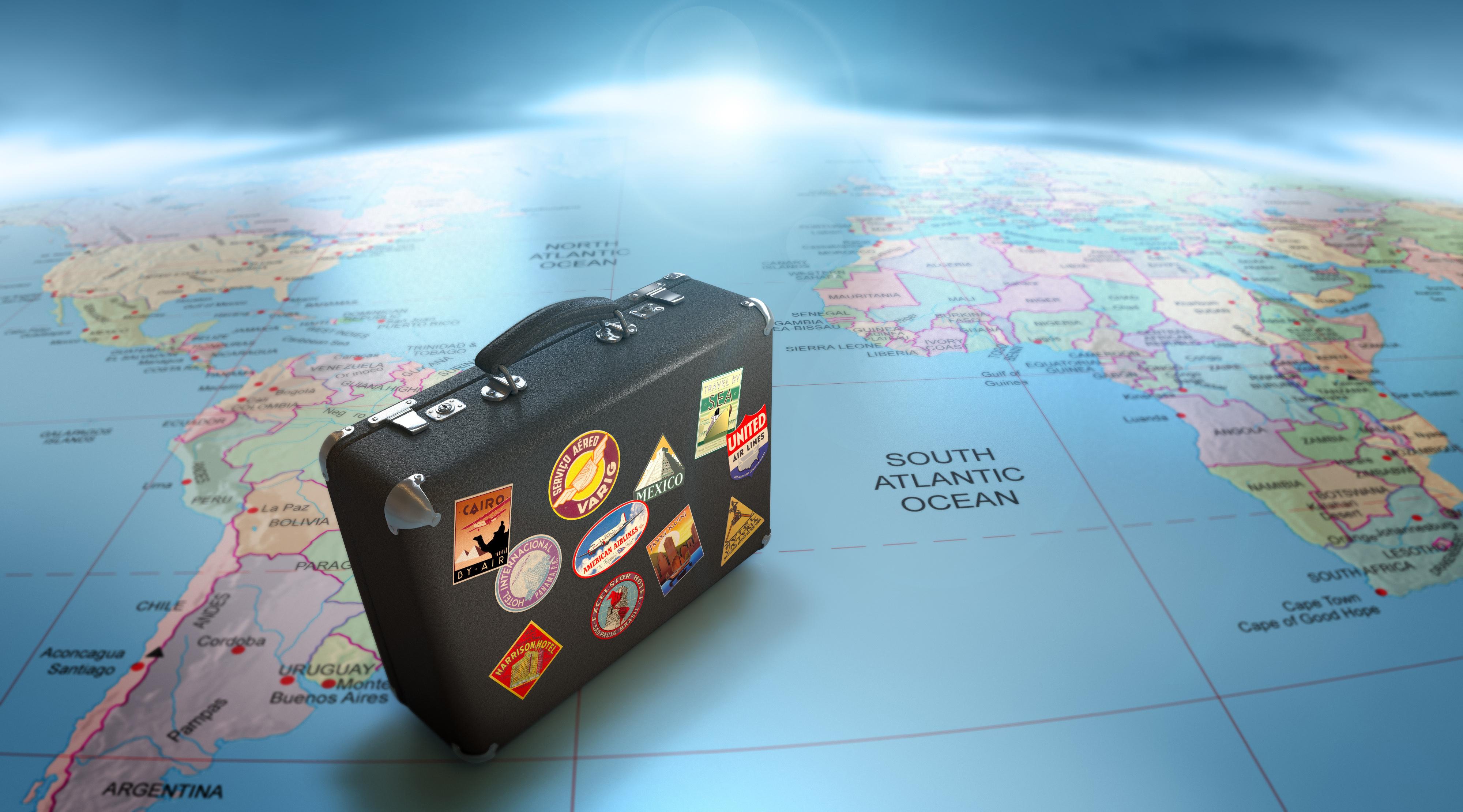 чемодан, путешественника, наклейки