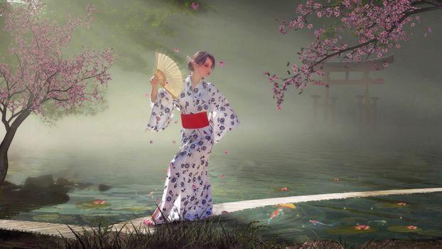 Бесплатные фото девушка,китаянка,кимоно. платье,халат,ткань,цветки,узор,веер,сод,трава,деревья,аниме