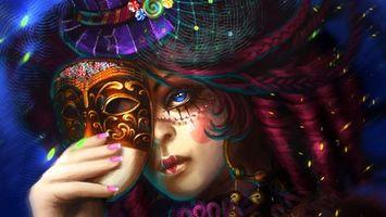 Фото бесплатно девушка, рисунок, маска
