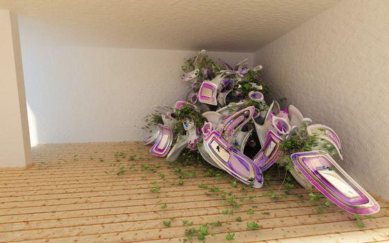дом, комната, плющ, цветок, трава