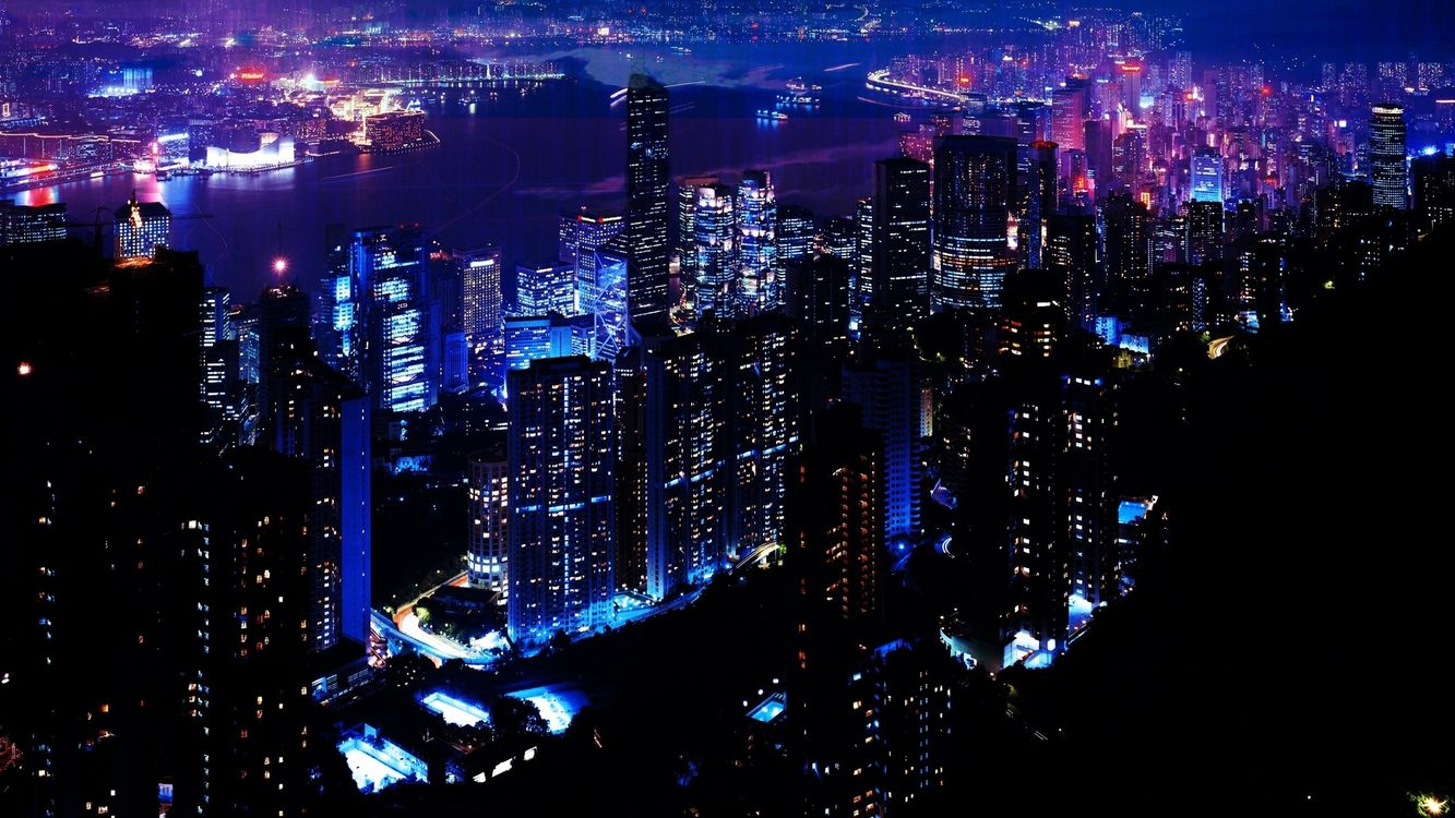 Фото бесплатно дома, высотки, окна, свет, река, улицы, ночь, высота, вид, город, город