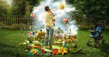 Фото бесплатно отец и ребенок, игровая, площадка
