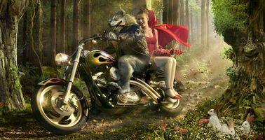 Бесплатные фото красная шапочка,волк,байкер,на мотоцикле,рендеринг