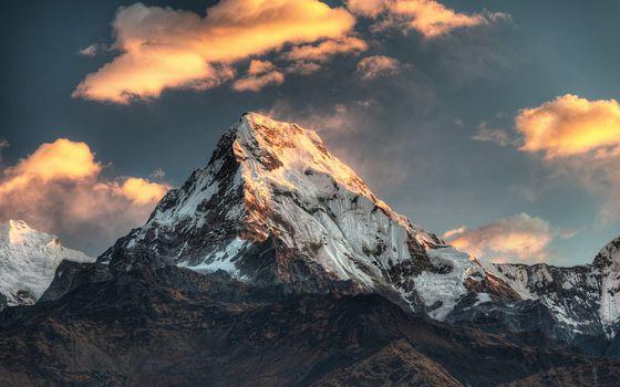 Бесплатные фото гора,пик,снег,ветер,небо,облака,пейзажи
