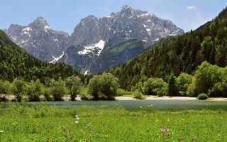 Бесплатные фото горы,снег,деревья,река,трава,поляна,природа