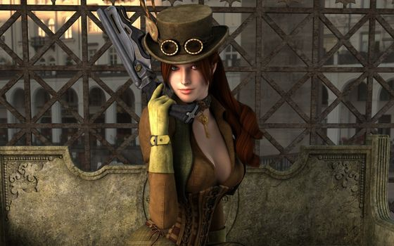 Photo free guns, female, hat