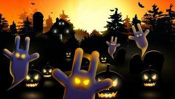 Бесплатные фото хэллоуин,тыквы,светятся,дом,деревья,летучие,мыши