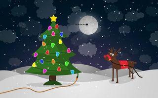 Фото бесплатно олень, елка, снег, гирлянда, луна, облака, новый год
