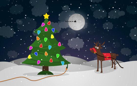 Заставки олень,елка,снег,гирлянда,луна,облака,новый год