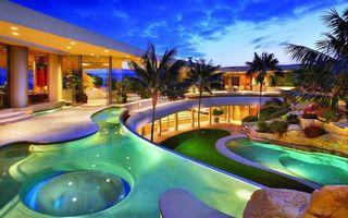 Заставки отель,дизайн,подсветка,бассейны,пальмы,газон,интерьер