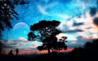 Бесплатные фото планета,люди,дерево,фантастический,мир,небо,фантастика