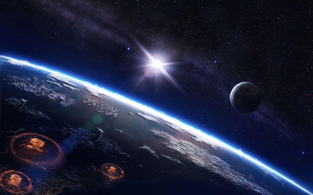 Фото бесплатно планета, земля, поверхность, высота, взрывы, небо, звезды, галактика, туманность, вода, тучи, солнце, спутник, свет, космос, космос