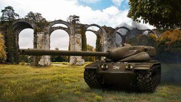 Бесплатные фото world of tanks,танк,средний,t57 heavy,мост,трава,броня
