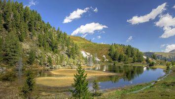 Бесплатные фото вода,озеро,лес,деревья,облака,небо,природа