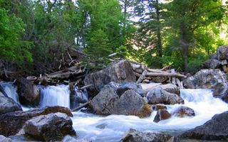 Photo free boulders, lake, forest