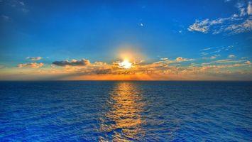 Фото бесплатно закат, море, горизонт