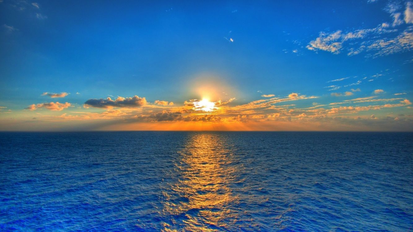 Фото бесплатно закат, море, горизонт - на рабочий стол