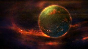 Фото бесплатно зеленая планета, туманность, звезды, свечение, галактика