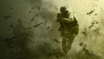 Бесплатные фото call of duty, спецназ, оружие, modern warfare, зеленый фон, солдат, cod